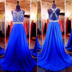 Gorgeous Long Royal Blue Sparkle Beaded Corset Prom Dresses Party Evening Gown