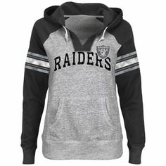 Oh please please someone buy me this for Christmas or my bday or tomorrow. :) Oakland Raiders Women's Huddle V-Neck Hoodie - Steel/Black