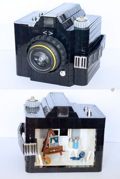 Wow! Beautiful and mind-boggling Lego sculpture of a camera, and a three dimensional little room depicting the photograph's creation