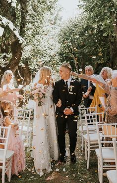 Outdoor Ceremony, Wedding Ceremony, Wedding Dress, Wedding Confetti, Gold Confetti, Nature Inspired Wedding, Private Wedding, Surprise Wedding, Garden Wedding Inspiration