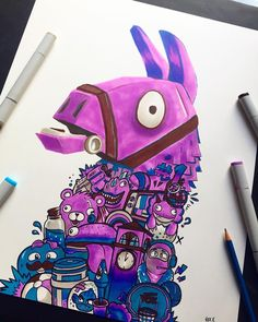 I made some Fortnite art last week ? This was a 4 marker challenge, and I mad. I made some Fortnite art last week ? This was a 4 marker challenge, and I made a fun video about it on my YT channel (u Doodle Art Drawing, Graffiti Drawing, Drawing Sketches, Llama Drawing, Pencil Drawing Tutorials, Pencil Drawings, Art Drawings, Vexx Art, Best Gaming Wallpapers
