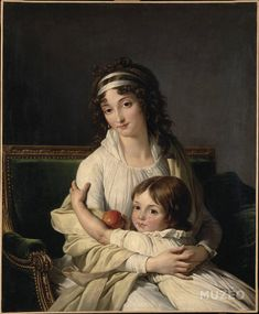 Francois André Vincent - Portrait presumed to be Madame Jeanne-Justine Boyer-Fonfrede and her son, Henri, late Claude Monet, Renoir, Matisse, Joshua Reynolds, Lady Elizabeth, Princess Louise, Photo Portrait, Portrait Art, 18th Century Fashion