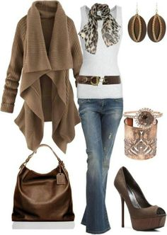 Best Fall fashion trends | casual jeans, oversized wrap sweater, slouchy leather purse, platform high heels in a neutral tone, textured earrings