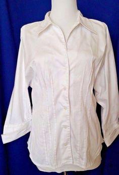 Anne Klein White Shirt Fitted Womens size M Button down Kimono 3/4 Sleeve Career #AnneKlein #ButtonDownShirt #Casual