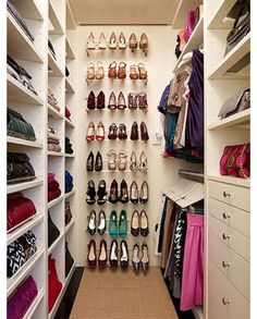 Here's that same idea using wired shoe shelving instead. I've also seen towel rods used for this concept.