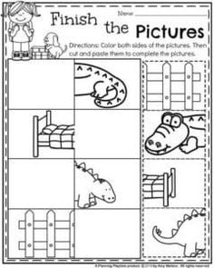 Back to School Preschool Worksheets - Complete the Pictures.