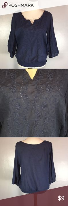 """Old Navy Embroidered Peasant Blouse This lightweight peasant blouse from Old Navy is a dark dusty blue with embroidery down the front, 3/4 sleeves, and elastic waist and sleeves.  Very cute and flowy! Measures 25.5"""" from shoulder to hem, 17.5"""" sleeves, 21.5"""" from armpit to armpit  Worn Once  Excellent Condition   Please ask all questions before you buy  No Modeling  No Trades Old Navy Tops Blouses"""