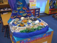 Under the sea small world Sea Activities, Nursery Activities, Toddler Activities, Ocean Themes, Beach Themes, Reception Class, Role Play Areas, Tuff Spot, Seaside Theme