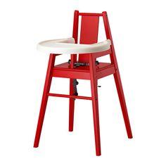 IKEA - BLÅMES, Kinderhochstuhl mit Tablett, rot,  , , Mit einem Hochstuhl können die Kleinen beim Essen oder Spielen 'gleichberechtigt' mit am Tisch sitzen.Das Tablett lässt sich zum Reinigen leicht abnehmen.