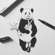 Off to work - Panda. Surrealism Employed to Draw Animal Illustrations. By Chen Naje.