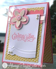 lovey handmade card from Always Playing with Paper ... like the layered flower and the asymetrical cut and embossed lines at the bottom of the top layer ... Stampin' Up!