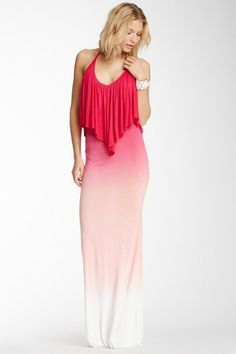 Young Fabulous & Broke Ciara Flutter Halter Maxi Dress by Non Specific in Fuchsia Sunset Ombre on @HauteLook