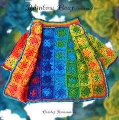 Crochet Renaissance - Reversible Rainbow Coat - Size 2-6 yrs. #crochet #crocheting #crochetlove #crochetaddict #knit #knitting #knittersofinstagram #handcrafted #crochetclothing #crochetrenaissance #alleyjdesigns              #alleyj #crochetpattern #timeless #grannysquare #crochetforkids                         #knitforkids #boho #bohostyle #crochetkids #trendycrochet #cutecrochet #kidscrochet #kidsknit #crochetaddict #coat #jacket #winter #rainbow #reversible