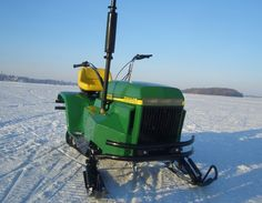 Custom Tractor Snowmobile made with a 1980 John Deere Liqufire snowmobile and a 1977 John Deere 210 lawn mower | front & center