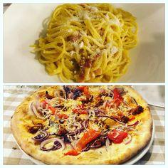 Dinner in Milan Osteria Italiana Milano: Spaghetti Carbonara and Spicy Sausage Pizza
