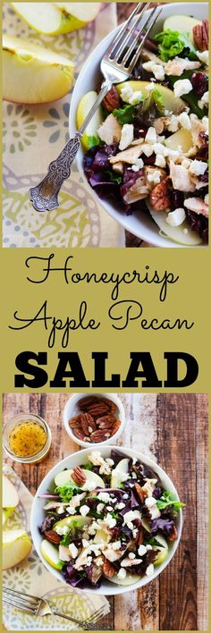 Honeycrisp Apple Pecan Salad with an Apple Cider Vinaigrette | http://www.homeandplate.com | This is the perfect fall salad that includes perfectly crisp apples with rotisserie chicken,pecans and crumbled goat cheese and topped with a homemade apple cider vinaigrette.