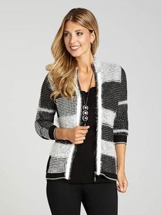 Alison Sheri knows how to design great Fallwear, and this gorgeous eyelash knit cardigan is a prime example. It features a geometric jacquard texture, and ties together with an edgy zip, creating the kind of cardi that works beautifully for...3030339-0617