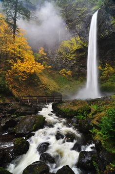 Autumn at Elowah Falls, Columbia River Gorge, Oregon  (by greglief on deviantART)