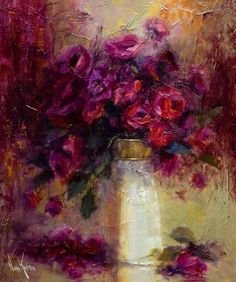 """Yağlı boya """"Kırmızı Güller"""" 24 x 20 cm Sanatçı tarafından KASTEN NORA"""
