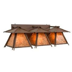 Steel Partners Sticks Cascade 3-Light Outdoor Wall Lantern Finish: Old Iron, Shade Color: Amber Mica