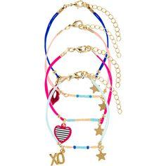 Accessorize 4 X Love Friendship Bracelet Pack (43 ILS) ❤ liked on Polyvore featuring jewelry, bracelets, heart shaped pendant, heart shaped friendship bracelet, blue heart pendant, blue charm and beaded friendship bracelet
