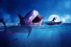 In this tutorial we will create an aquatic scene about a fisherman catching a big shark. There will be some blood and some underwater seamless blending.The techniques used here are simple so let's get started. What you'll be creating You will create an aquatic scene. You will need Photoshop CS5 or n…