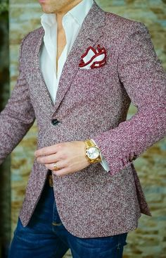 Check out the new casual collection by Sebastian Cruz Couture. Check out the new casual collection by Sebastian Cruz Couture. Blazer Outfits Men, Mens Fashion Blazer, Suit Fashion, Red Blazer, Blazer Suit, Casual Outfits, Chaleco Casual, Moda Do Momento, Mode Costume
