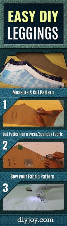 Easy DIY Leggings - Easy Sewing Projects for Cool DIY Fashion Ideas - Simple Free Pattern and Tutorial That Shows You Step by Step How To Make Leggings for Women, Girls and Teens #fashionsewing,