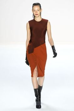 Narciso Rodriguez, burgundy and pumpkin, black leather gloves and mid rise boots