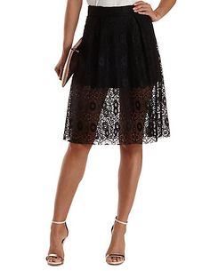 Medallion Lace Full Midi Skirt: Charlotte Russe #skirt #lace