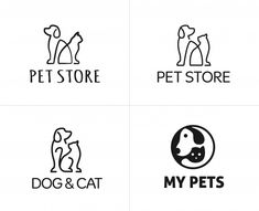 Set of pets dog and cat linear logo design template Premium Vector - Print Layout - Dog Logo Design, Logo Design Template, Cat Design, Vector Design, Pet Shop, Pet Dogs, Dog Cat, Dog Branding, Corporate Branding