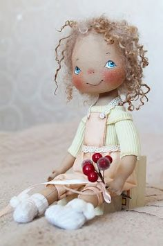 Handmade doll with cherries