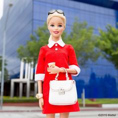 All buttoned up for a day of meetings. Coffee in hand and ready to go! ☕️ #barbie #barbiestyle