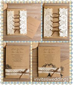 lace wedding invitations Chic Wedding, Rustic Wedding, Wedding Stuff, Vintage Wedding Invitations, Wedding Stationary, Day Countdown, Guest Book Table, Wedding Inspiration, Wedding Ideas