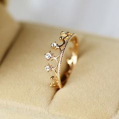 New Lovely Korea Style Crystal Crown Alloy Rose Gold Plated Women's Ring $10.99