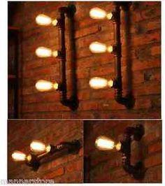 Steampunk-Lampara-in-ferro-Zincato-Iron-Pipe-lamp-water-vintage-tubo-idraulico
