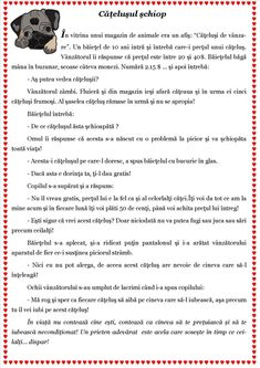 Texte despre toleranță -Cățelușul șchiop Visual Perceptual Activities, Romanian Language, Curriculum, Homeschool, School Lessons, Worksheets For Kids, Working Moms, Kids Education, Pre School
