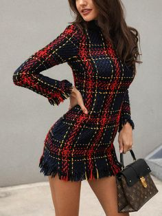 Long Sleeve Frayed Hem Mini Tweed Dress Fashion Trends, Styles and Tips for Women in 2018 womens fashion chicme wedding