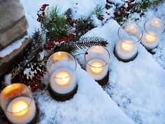 Line the steps wth pretty tealights
