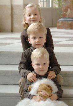 (F-B) Prince Emmanuel, Prince Gabriel and Princess Elisabeth of the Belgian Royal Family at Laeken Castle on 03 Jan 2008