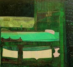 """Sharon Horvath, Nightbed 2002-2009 Pigment, Polymer, Canvas 64x68"""""""