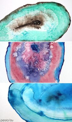 How to Paint a Watercolor Agate Slice tutorial! Make your own art. Persia Lou for @Delineateyourdwelling
