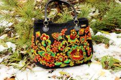 Black felt tote handag Felted shoulder bag KHOKHLOMA ornament Wool painting Russian folk style Needle felting Multicolor OOAK Wearable art by FeltZeppelin on Etsy