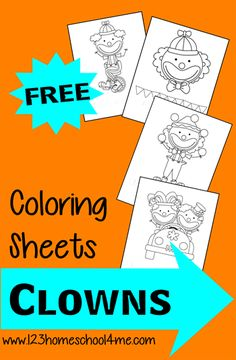 Coloring pages are always a hit with Toddlers and Preschoolers. Plus they are so good for kids as they work on strengthening those fine Circus Crafts Preschool, Clown Crafts, Preschool Lessons, Preschool Activities, Toddler Preschool, Carnival Activities, Carnival Crafts, Coloring Sheets For Kids, Coloring Pages