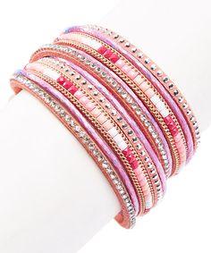 Loving this Pink Rhinestone Leather Wrap Bracelet on #zulily! #zulilyfinds