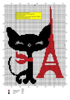 France - country - tour eiffel chat - point de croix - cross stitch - Blog : http://broderiemimie44.canalblog.com/