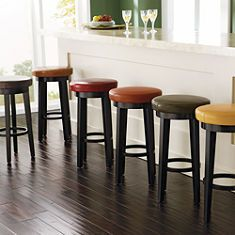 Swivel bar stools- I like the seat colors, but I think the wood is too dark for our kitchen.