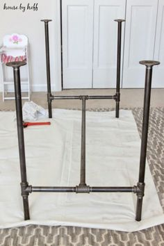 Kitchen Living Room - Make your own industrial DIY piping and butcher block table!