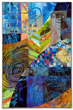 "Sue Benner. WALKING THROUGH TIME X (DUSK) 2010 - 51.5"" x 34""  dye & paint on silk & cotton, found fabrics, fused,  mono-printed, machine quilted"