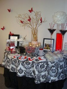 Perhaps I'll do a cookie and candy bar.  or dessert table.  Less expensive than  all candy!!!  Black, White and Red #wedding colors